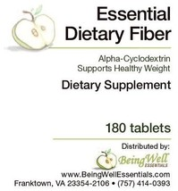 Essential Dietary Fiber - Alpha Cyclodextrin - Inhibits Fat Absorption - 180 tab