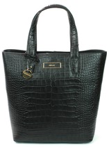 DKNY Donna Karan Black Leather Croc Embossed Tote Shopper Bag Medium Han... - $299.49