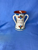 Devon Motto ware If You Cant Be Aisy White Double Handled Pottery Coffee... - $13.99