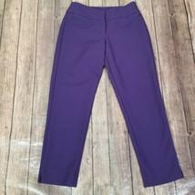 Talbots Curvy Crop Pants Womens 2P Petites Purple Chinos Stretch Mid Rise - $14.84