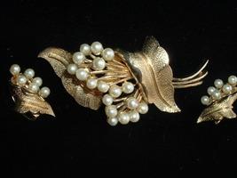 Vintage Coro Designer Set Signed Faux Pearl & Rhinestone Brooch &  Clip ... - $39.95