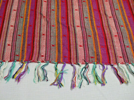 Southwestern Pattern Multi Color Woven Fabric Head Scarf Shawl Fringes 3... - $14.80