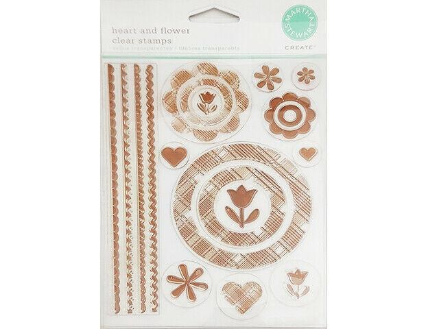Martha Stewart Crafts Heart and Flower Clear Stamp Set #MA331032