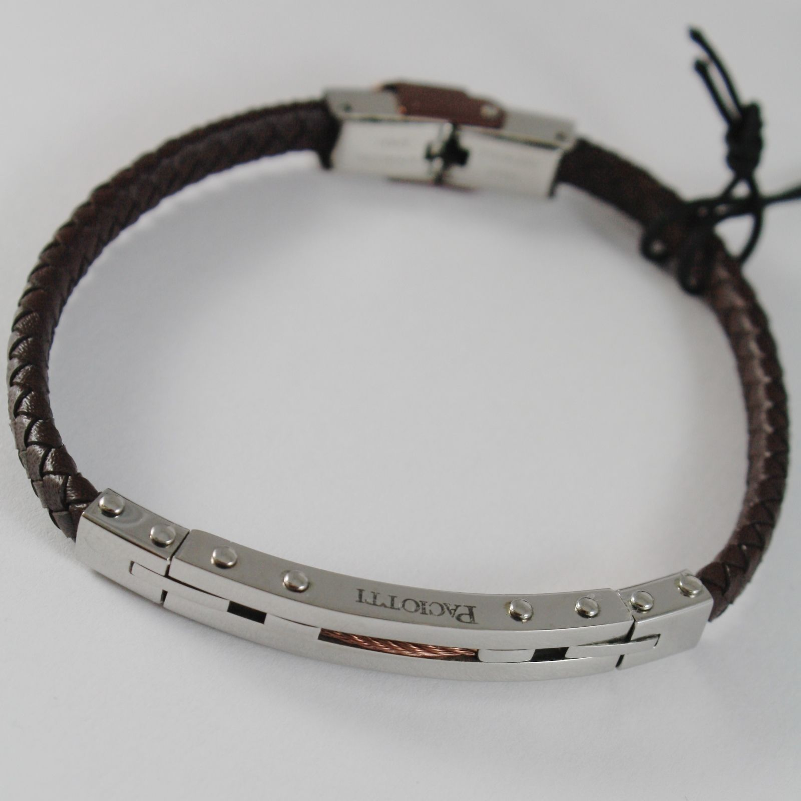 MEN'S BRACELET STEEL AND LEATHER SEMI-RIGID CESARE PACIOTTI 4US 4UBR1530
