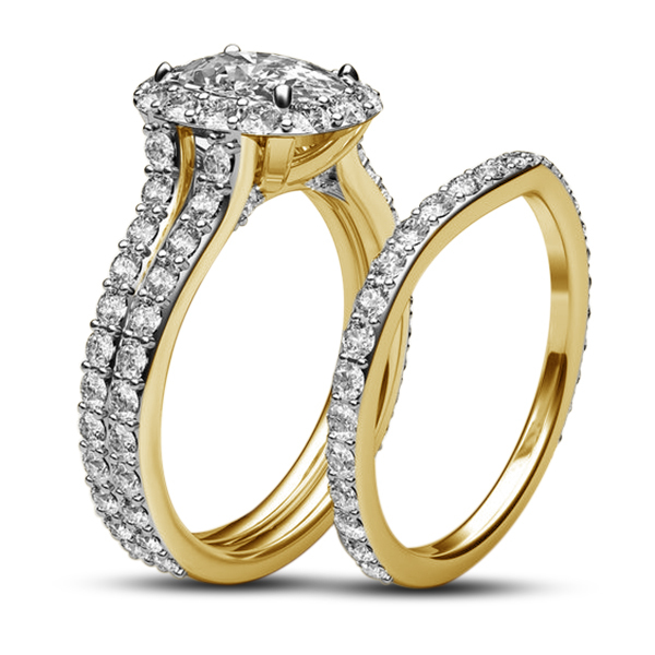 Ladies Bridal Ring Set 14k Gold Plated 925 Silver Round Cut White Cubic Zirconia