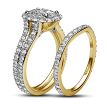 Ladies Bridal Ring Set 14k Gold Plated 925 Silver Round Cut White Cubic ... - $96.98