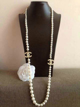 AUTHENTIC CHANEL 100th ANNIVERSARY 2 CC Faux Pearl Gold NECKLACE RARE - $1,199.99