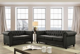 Bylis Traditional Style Sofa Set in Chesterfield Inspired in Gray Chenille - $1,398.00