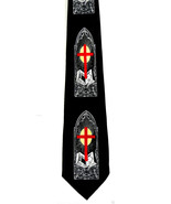 Gothic Church Window Cross Mens Necktie Religious Christian Bible Black ... - $15.79