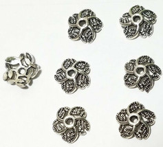 6 Pcs. Fine Pewter Bead Caps - 11mm; Hole 1mm Antique Silver