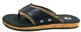 Timberland Mens Sandals JRDMS Thong 86519 M/M Leather and Cork Black/Nr ... - $49.99