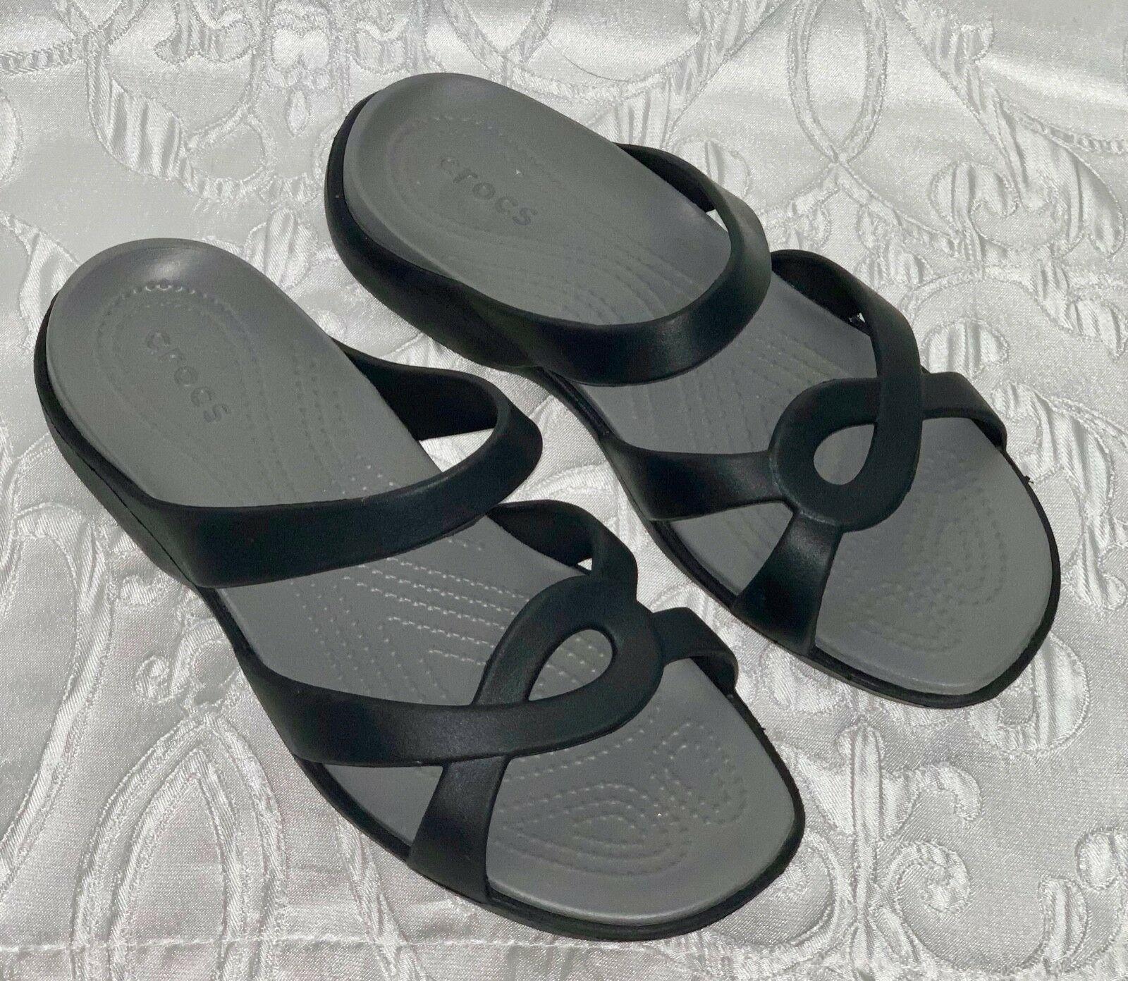 Womens Crocs Black Sandals Slip On Flip Flops Size 9 Nice Shape