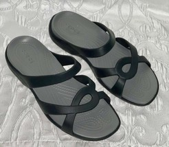 Womens Crocs Black Sandals Slip On Flip Flops Size 9 Nice Shape - $26.99