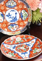 HAND PAINTED JAPAN PLATE IMARI STYLE HAND PAINTED COBALT RED GOLD GILT 7... - $29.99