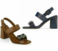 Tory Burch Women Embellished Slingback Sandals Sandals Delaney 75MM Calf Leather - $110.96