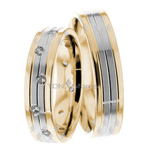 18K Gold Matching His & Hers Wedding Ring Sets Mens Womens Wedding Bands Rings - $1,239.17