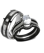 His Hers 4 Piece AAA Cz Wedding Ring Set Black ... - $28.99