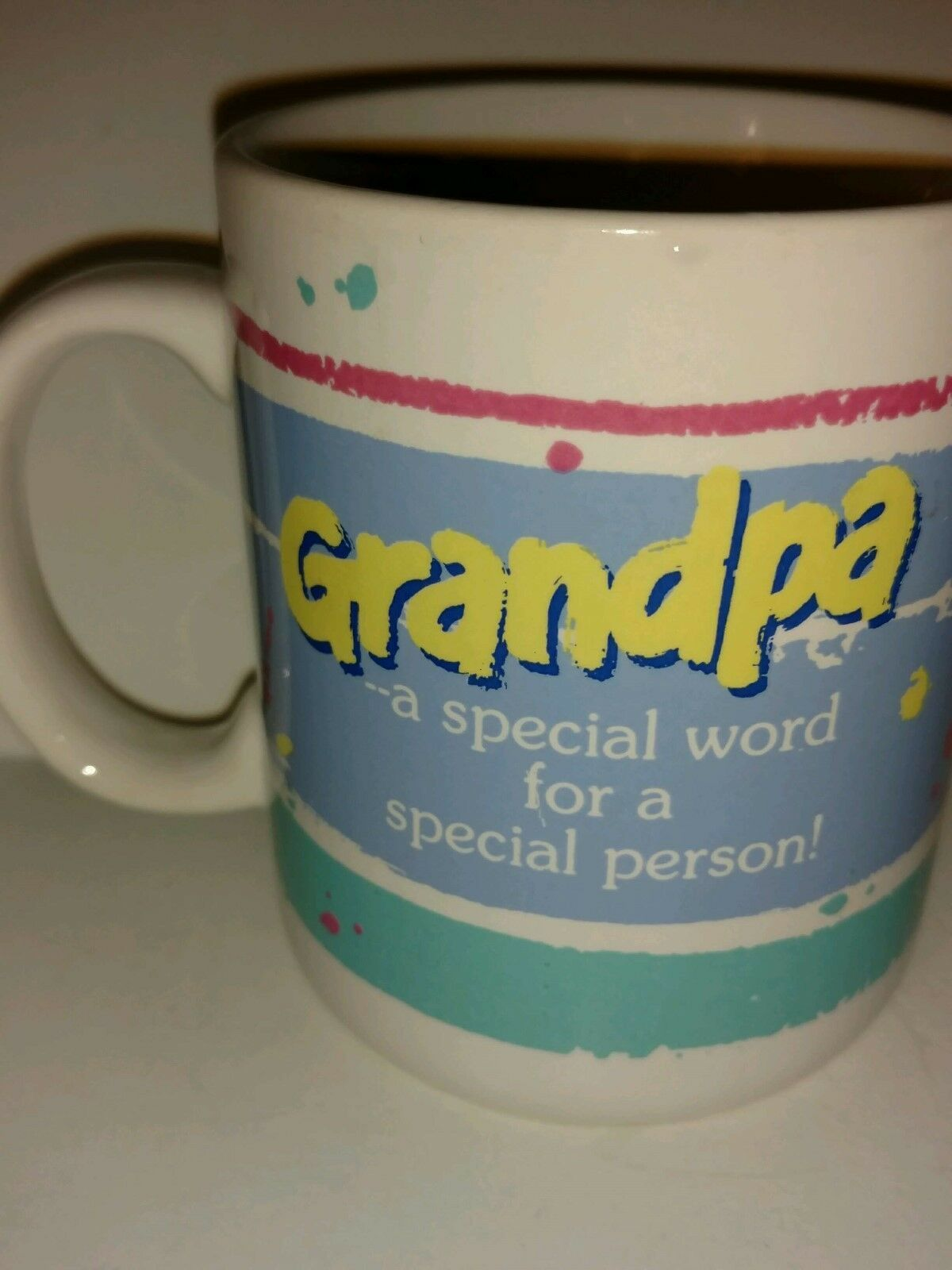 Primary image for Vintage 1985 Hallmark Smiley Face Coffee Mugs Grandpa is a Special Person - 8 oz
