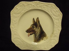 ANTIQUE HAND PAINTED GERMAN SHEPHERD ON ANTIQUE PLATE BY ALICE L. CALDER - $27.72