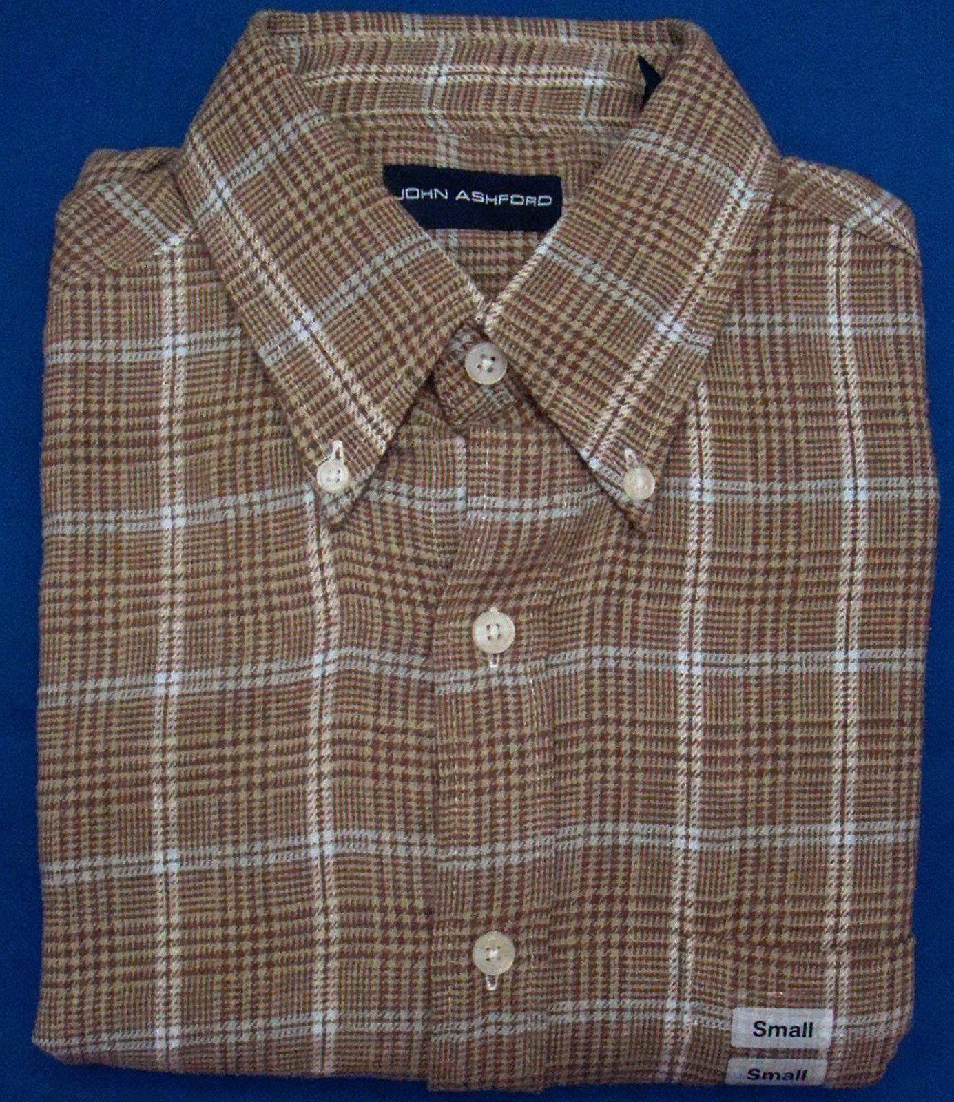 John Ashford - Brown Checked Long Sleeve Flannel Shirt - Size Small