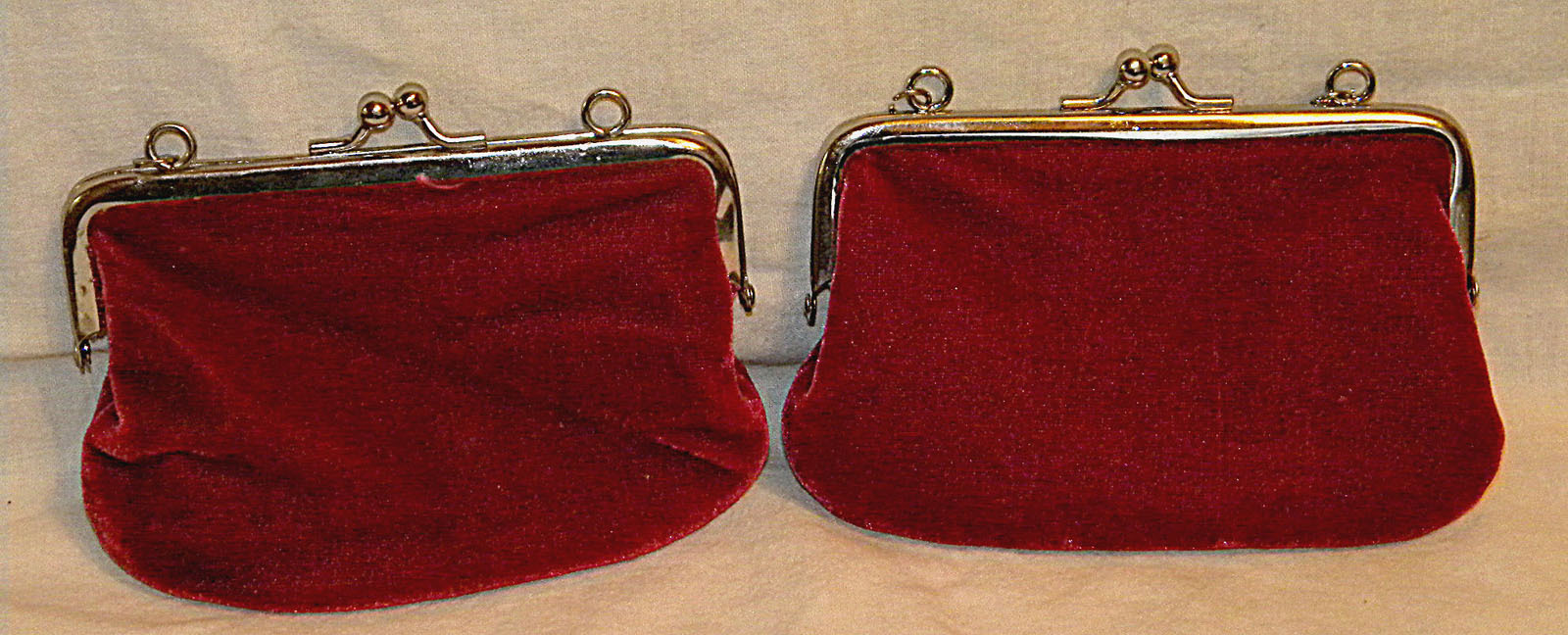 2 vintage Snap Coin Purses Red velvet outside pink satin interior w/ chain rings