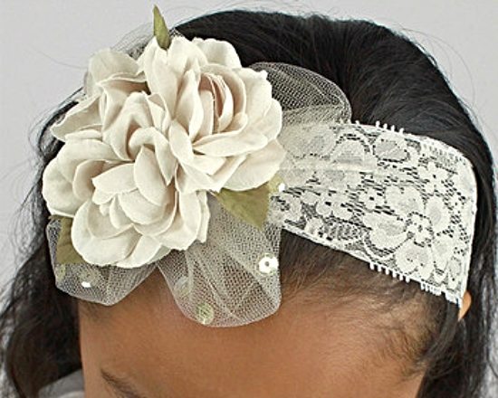 Girls Floral Headband Delicate Ivory Lace Blossom Wedding MSRP $22 SAVE $4.50
