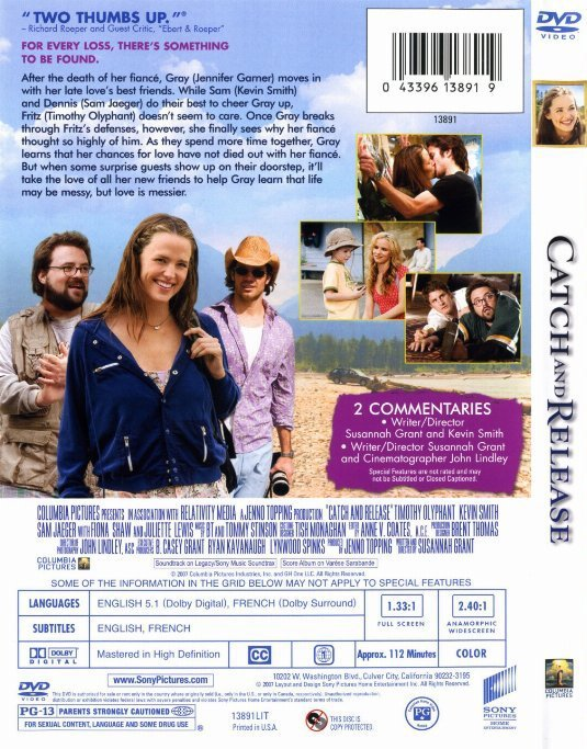 Catch And Release DVD Jennifer Garner Timothy Olyphant Juliette Lewis