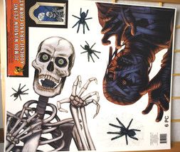 Huge Halloween Decoration-SKELETON MUMMY SPIDER-Tattoo Mirror Window Cli... - $3.93