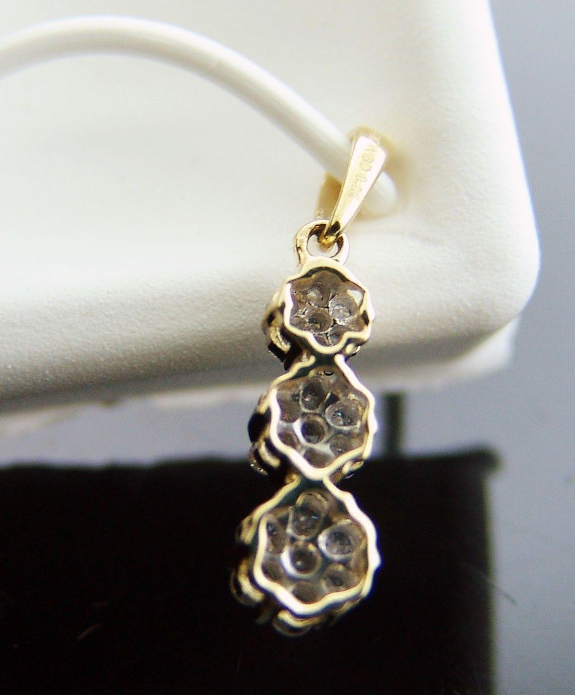 14K Gold Journey Pendant necklace 0.25 CT Diamond 21mm size long