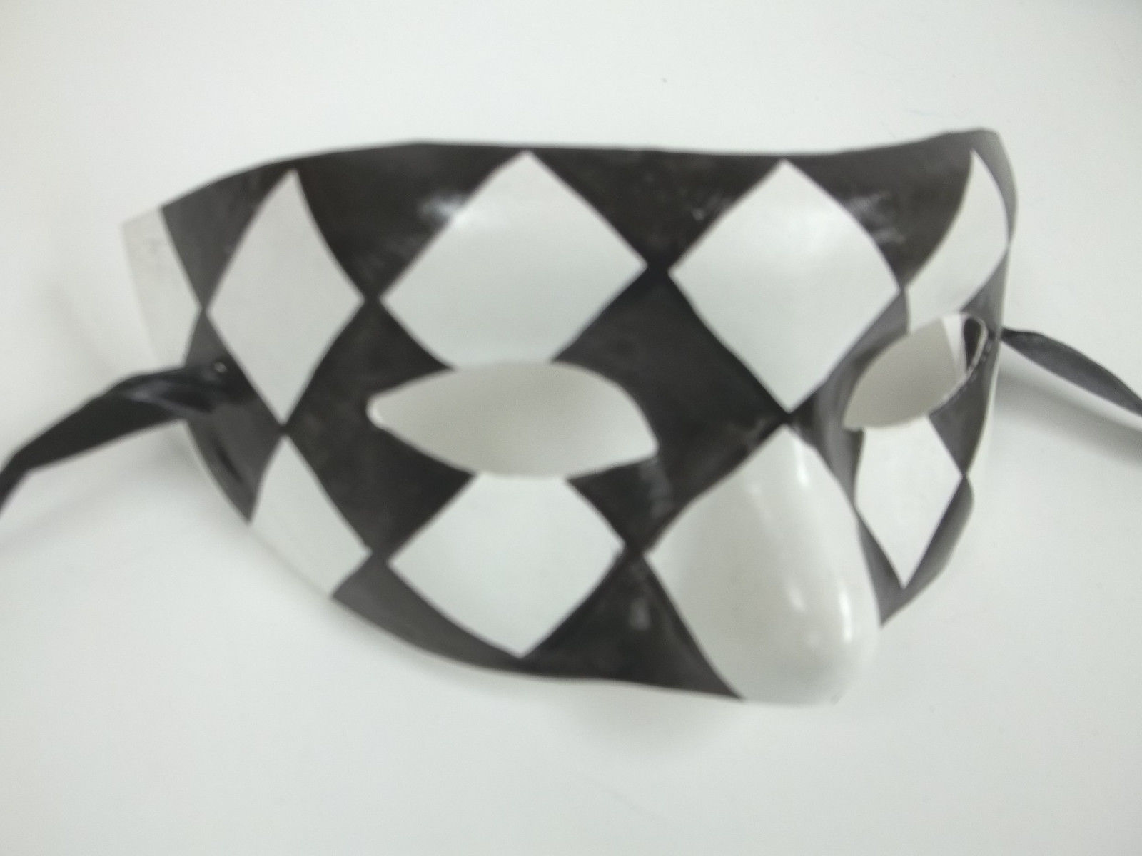 Black White Checker Diamond Masquerade Paper Mache Mardi Gras Mask