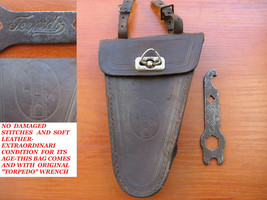 VTG WWII GERMAN TRUPPENFAHRRAD BICYCLE LEATHER TOOL BAG POUCH +TORPEDO W... - $197.01