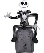 Airblown Jack Skellington On Tombstone Gemmy Prop Halloween Yard Decor - $52.63