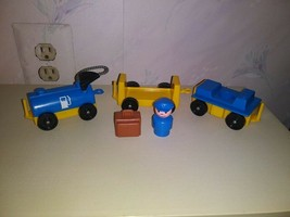 Fisher Price Vintage Little People 3 Piece Airport Train w Luggage & Engineer   - $9.90