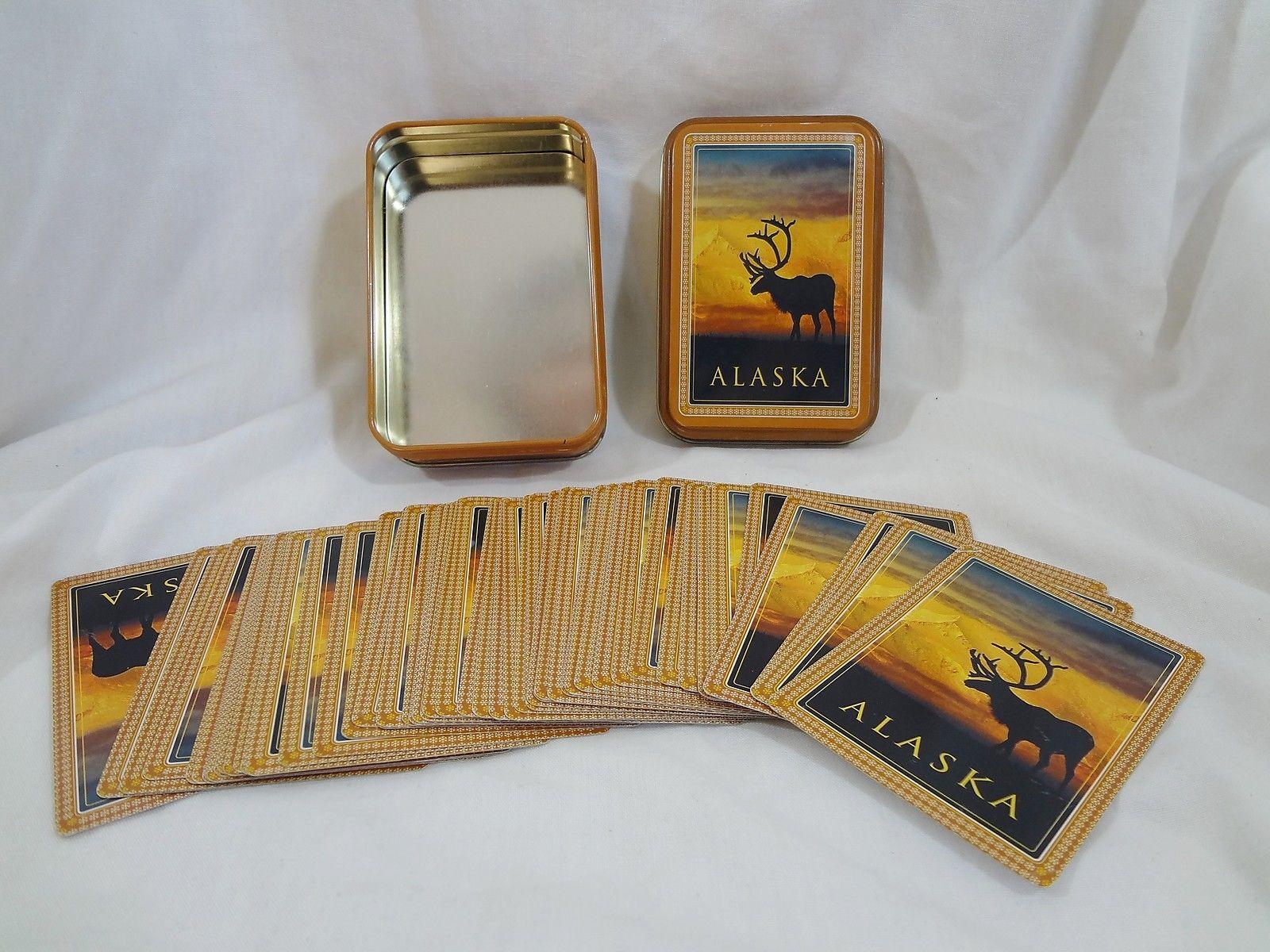 Alaska Collector Tin Playing Cards Elk Sunset Incomplete