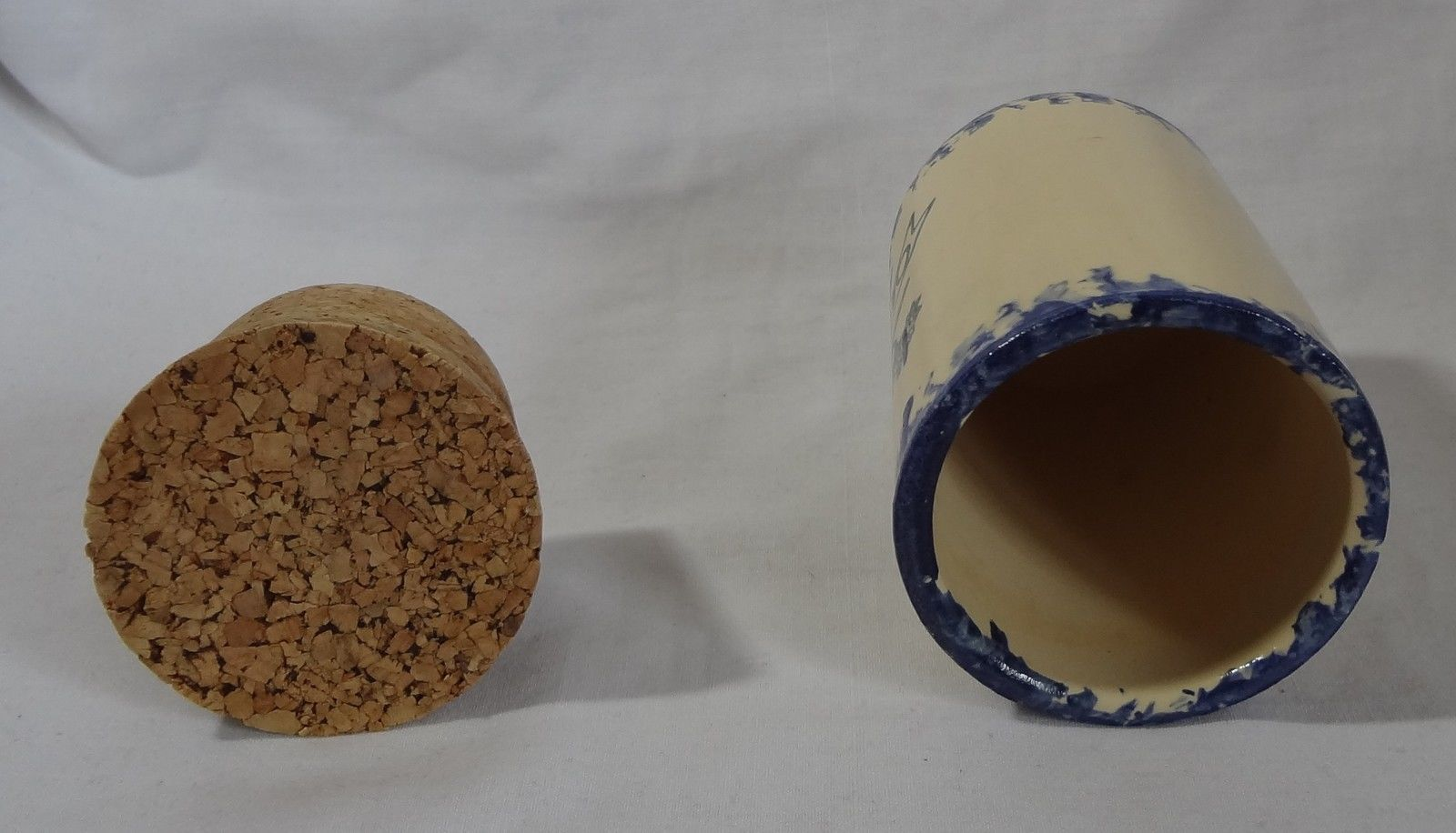 Oregano Spice Jar with Cork Lid Beige Cobalt Blue