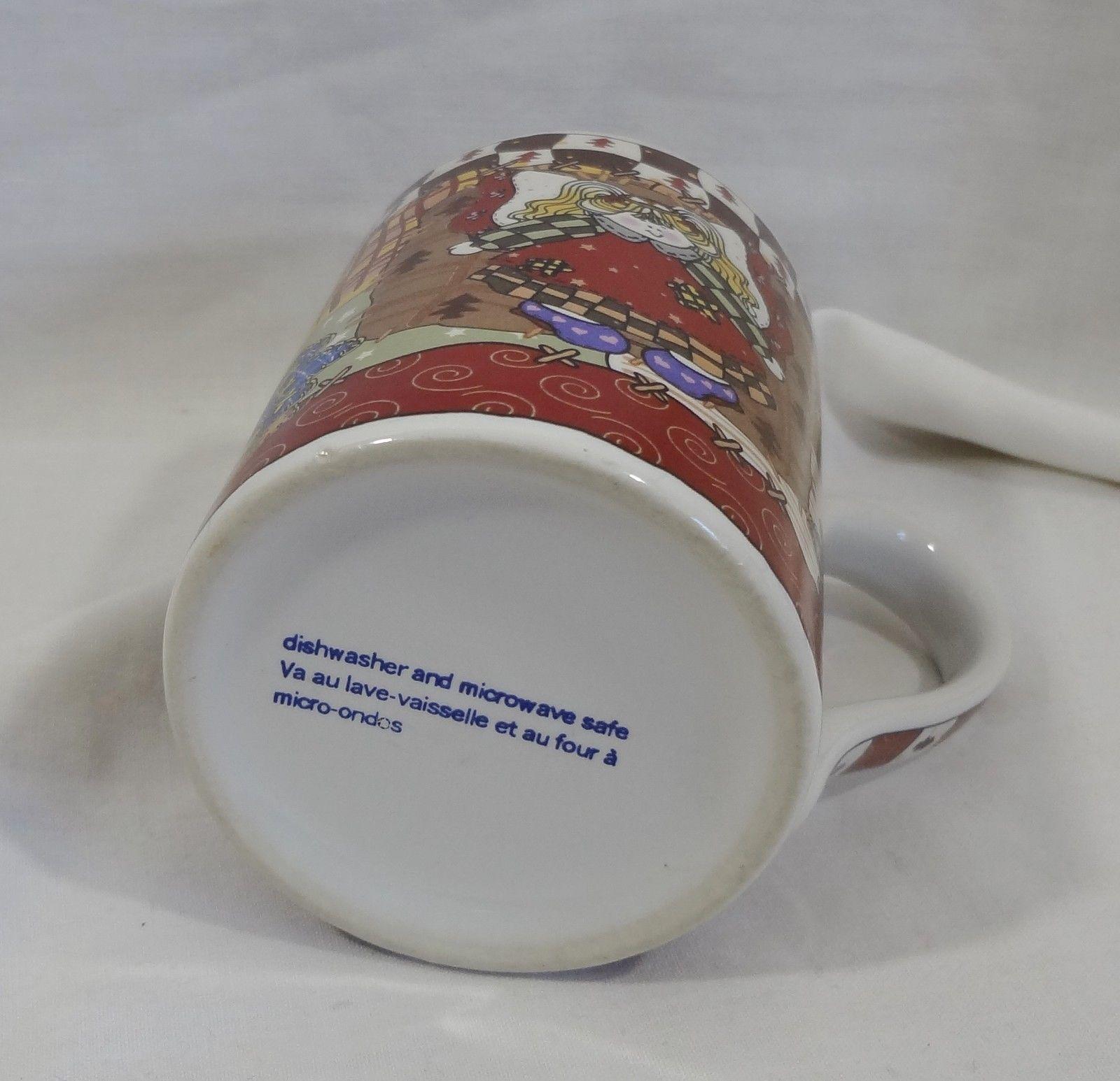 Christmas Holiday Country Patchwork Doll 8 oz Coffee Mug Cup