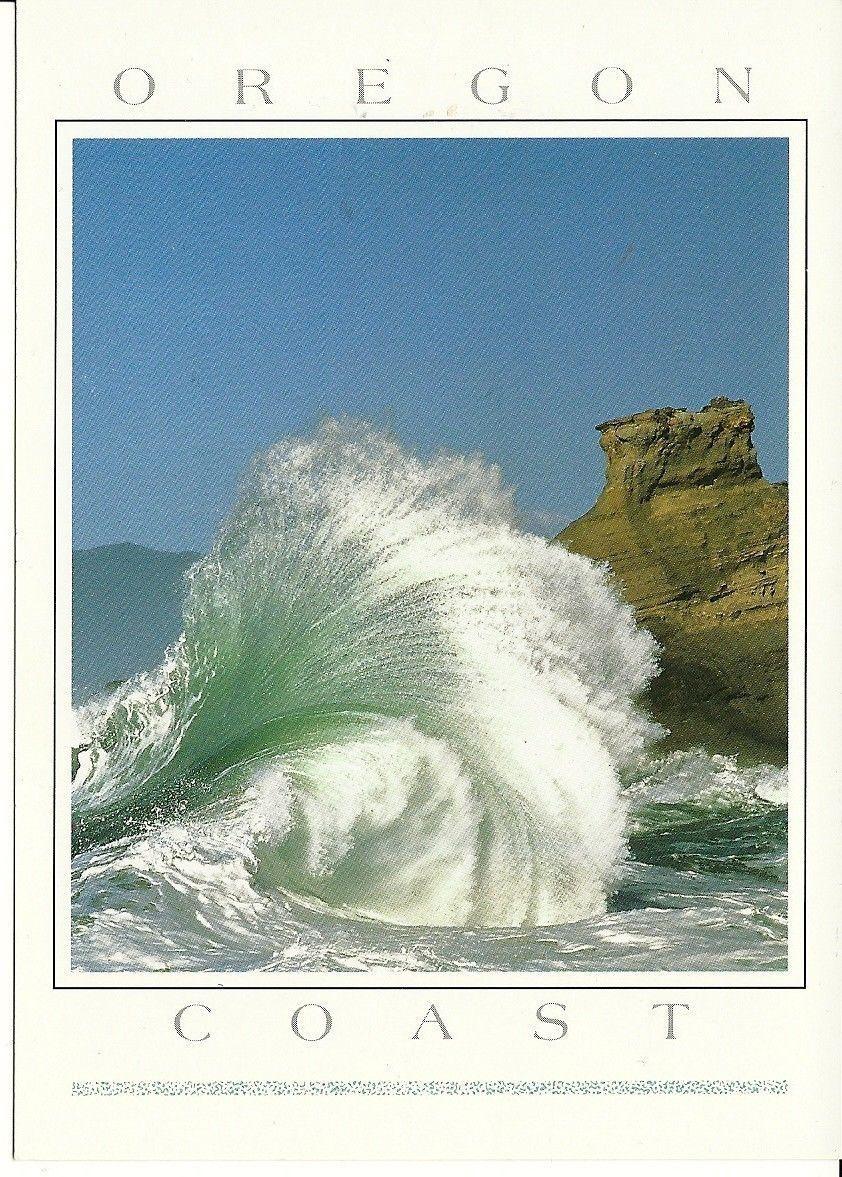 Postcard Oregon Coast Titled A Fantastic Wave Curl Cape Kiwanda