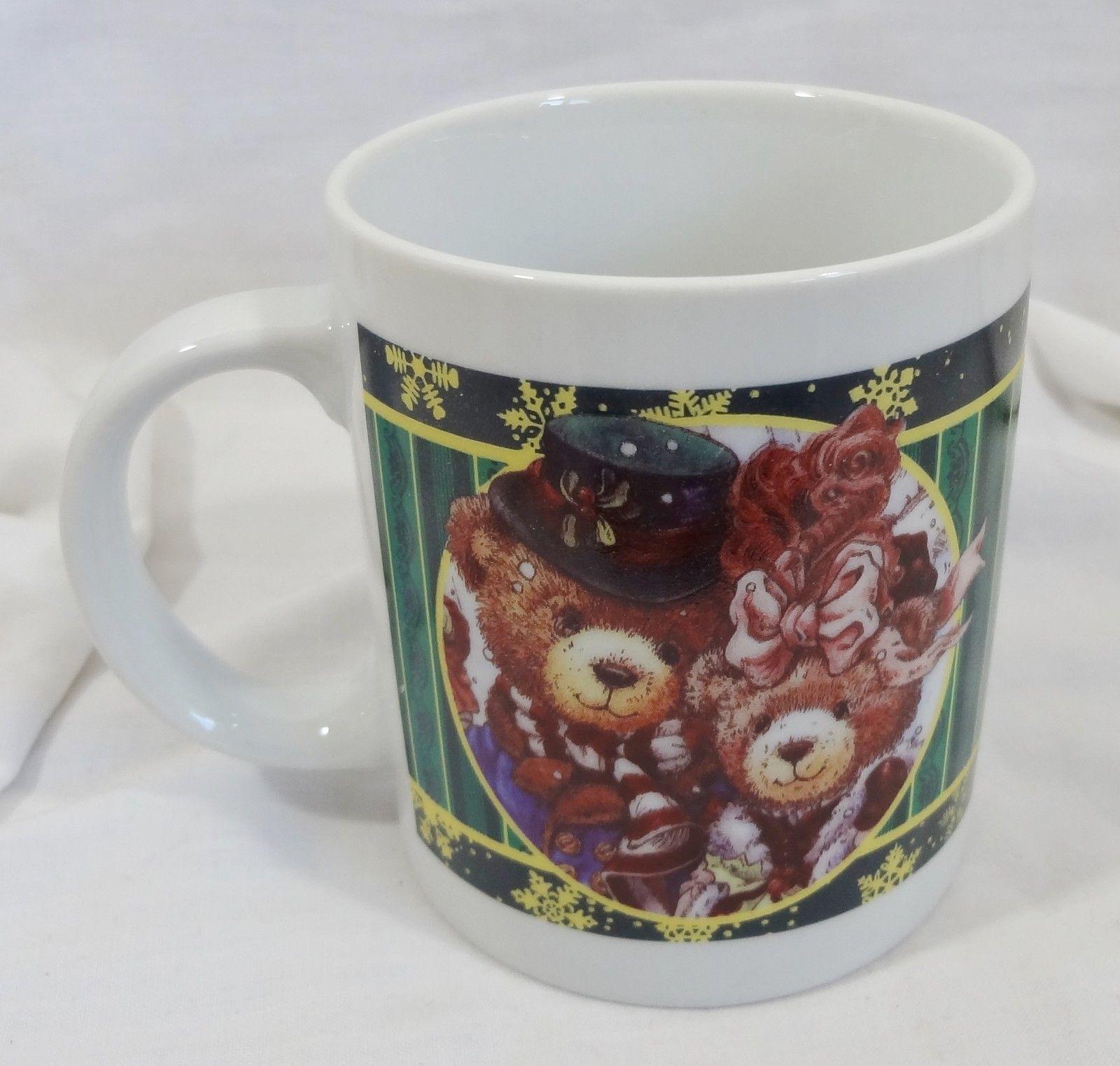 Christmas Holiday Victorian Teddy Bears 10 oz Coffee Mug Cup