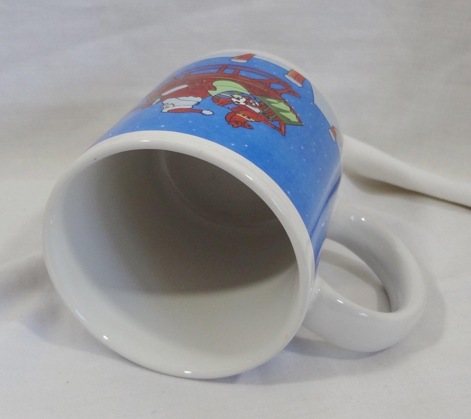 Christmas Santa In Flight Reindeer Sleigh 8 oz Coffee Mug Cup
