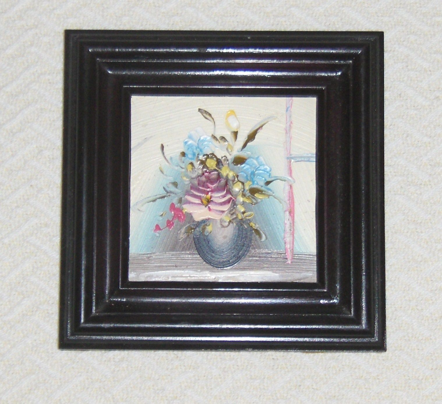 Small Framed Painting Miniature Vase with Flowers Floral Still Life