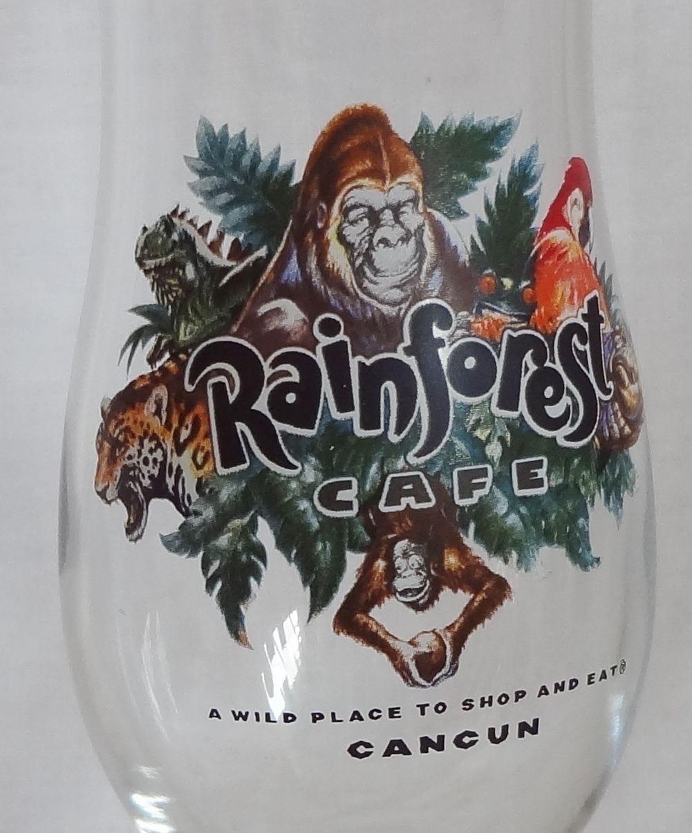 Rainforest Cafe Cancun 14 oz Hurricane Glass Souvenir