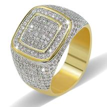 18K Gold Iced Out Hip Hop Wedding Engagement Bling MICROPAVE CZ Pinky Me... - $183.00