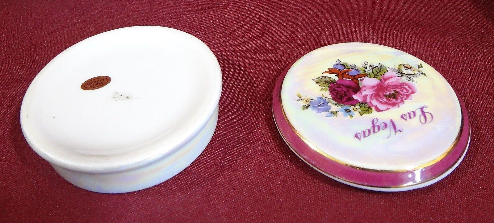Las Vegas Opalescent Round Floral Trinket Box Ceramic