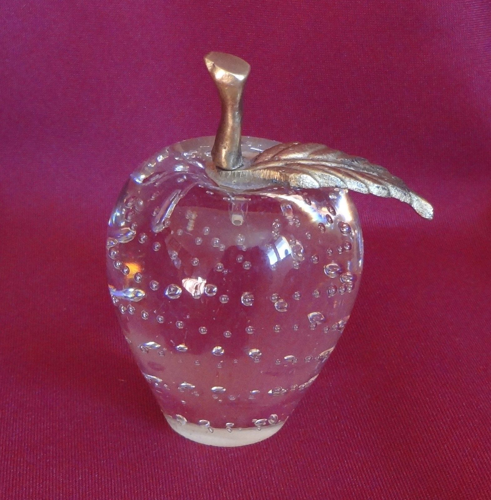 Glass Apple Paperweight with Controlled Bubbles Brass Stem and Leaf