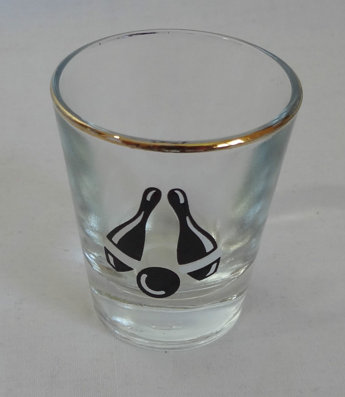 Bowling Bowlers 2 oz Gold Rimmed Barware Shot Glass