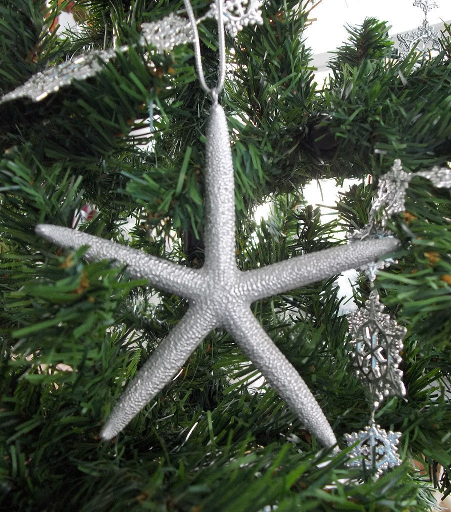 SILVER STARFISH ORNAMENT Real Starfish Seashell Christmas Ornament