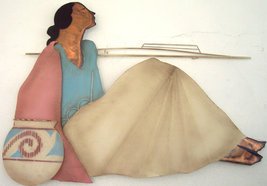 Native Southwestern American Indian Woman Large Metal Copper Sculpture W... - $2,999.00