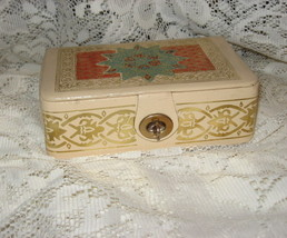 Jewelry/Curio Box-Embossed Leather-Gold Detail - Unknown Origin - $10.00