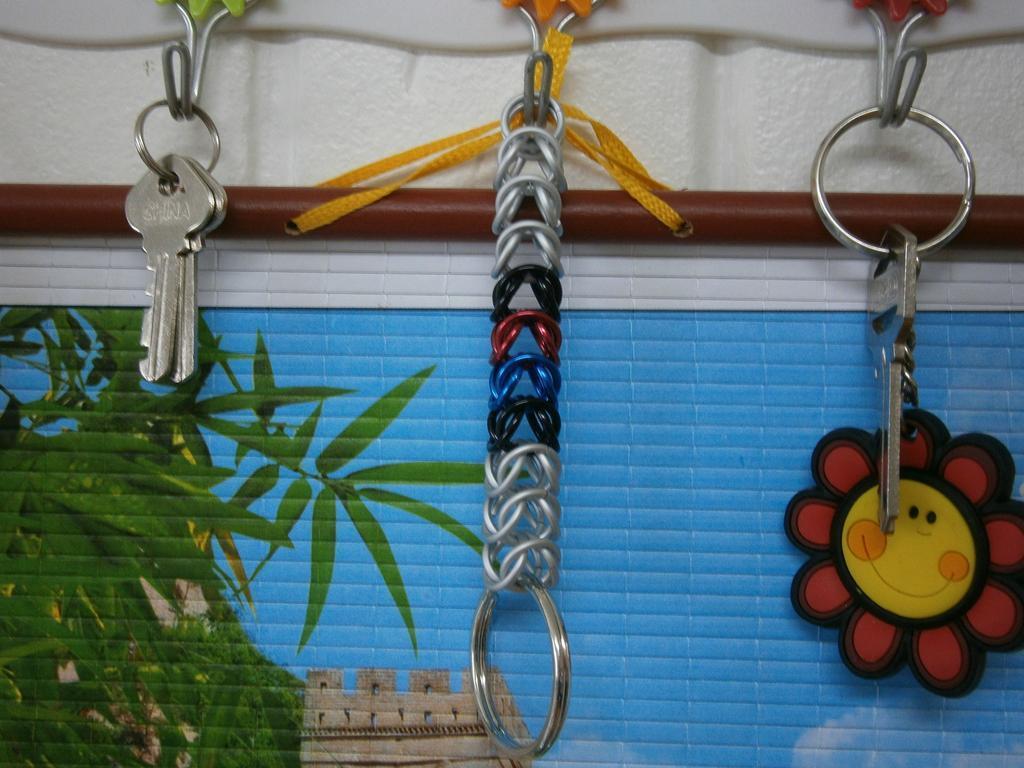 South Korean Flag box chain key chain maille handmade aluminum jump rings SK
