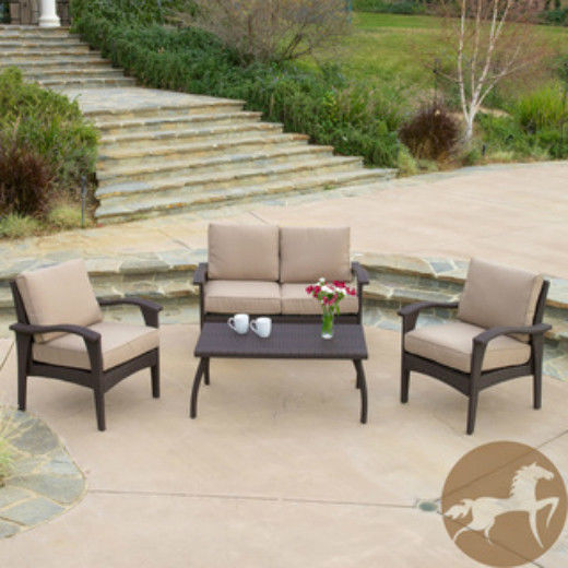 4 pc Outdoor Patio Furniture Set Love Seat Armchairs Table Office or Home Garden